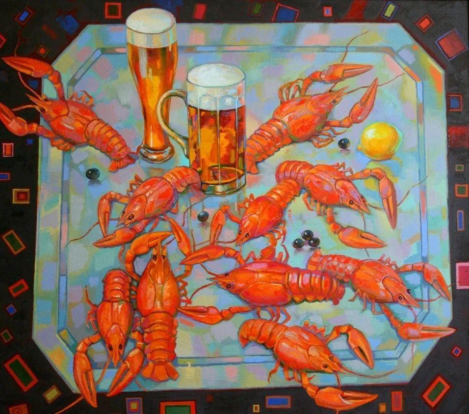啤酒小龙虾,这画家的绘画风格,太让人喜欢了!插图2