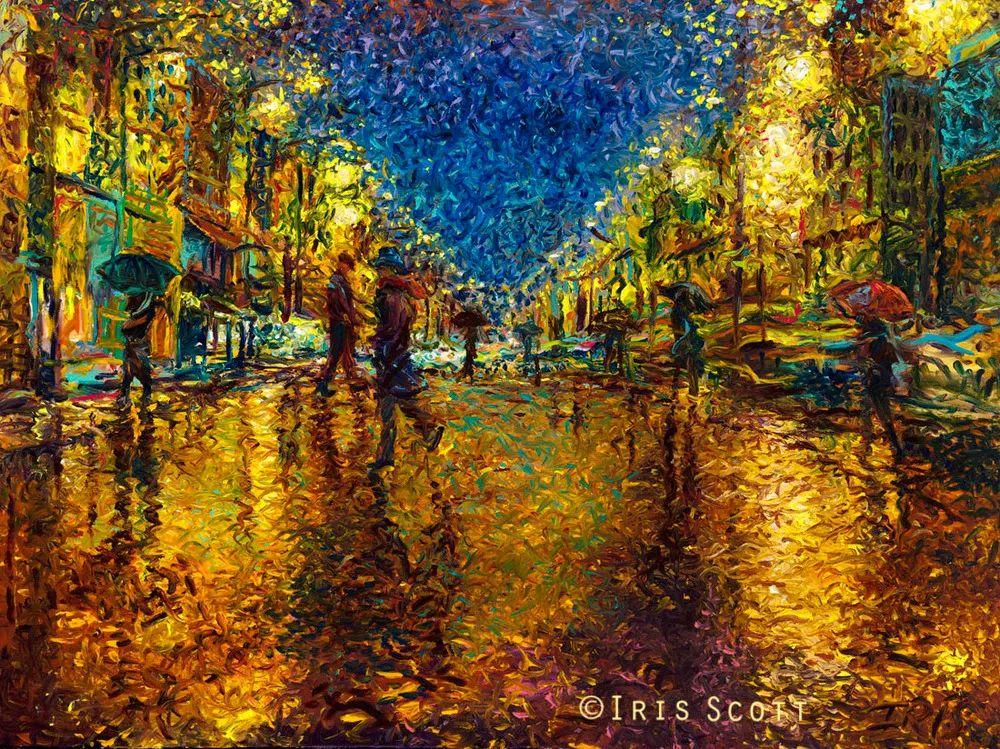 用颜料触摸这个世界!美国画家Iris Scott画选(下)——人物街景篇插图59