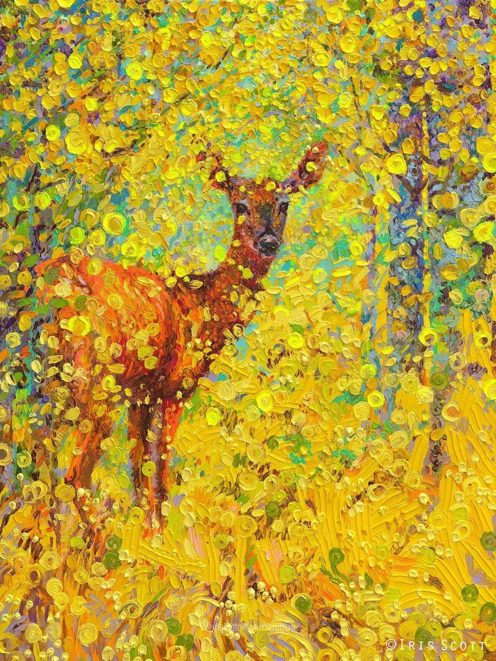 用颜料触摸这个世界!美国画家Iris Scott画选(中)——动植物篇插图51