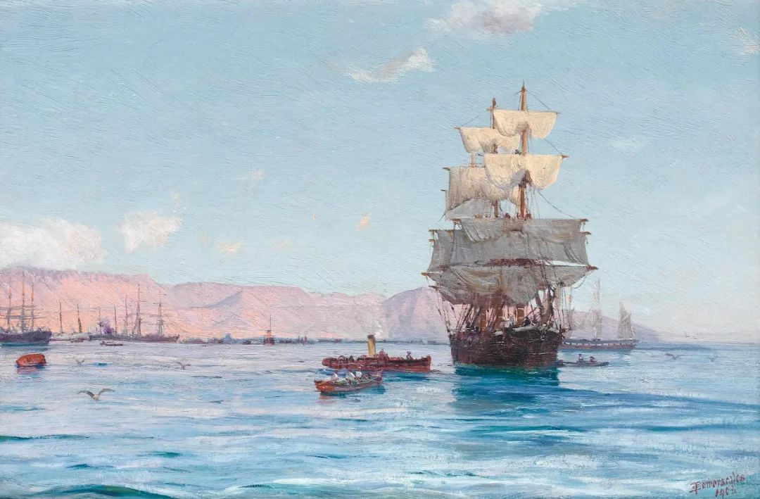 海军校长笔下海的艺术,英国画家萨默斯卡尔斯作品选插图13