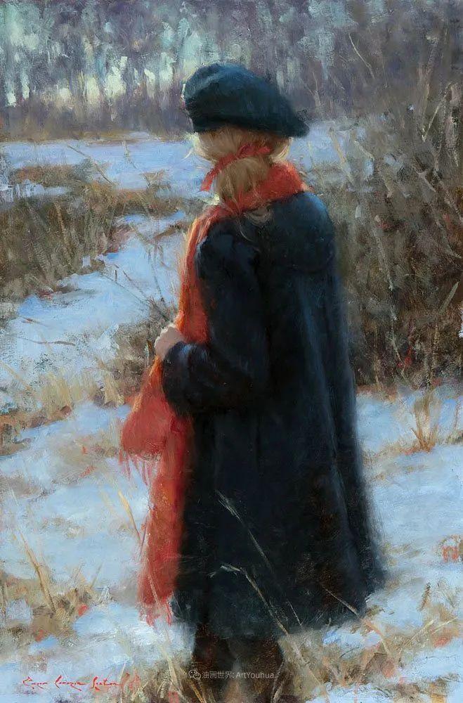 他尤其喜欢画人物,美国画家布莱斯作品选(下)插图5