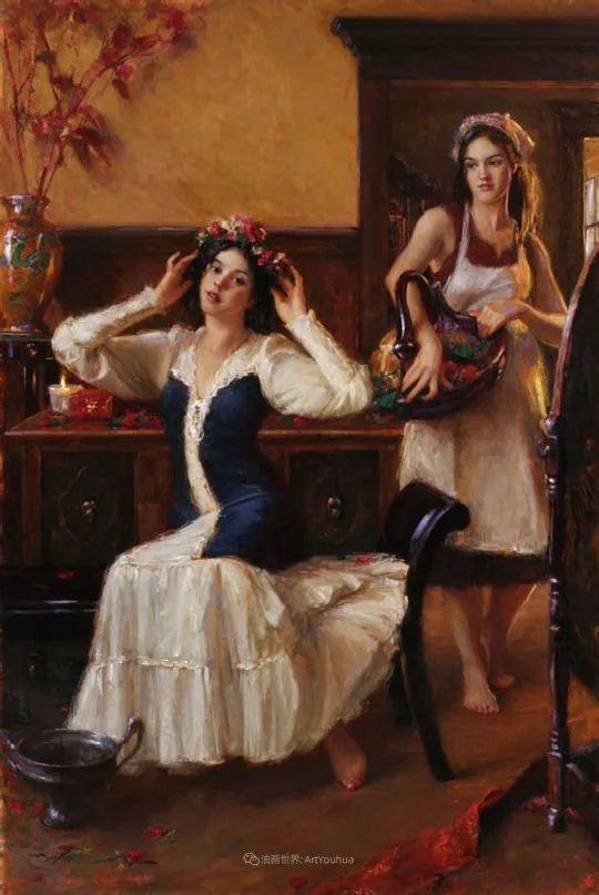 他尤其喜欢画人物,美国画家布莱斯作品选(下)插图25