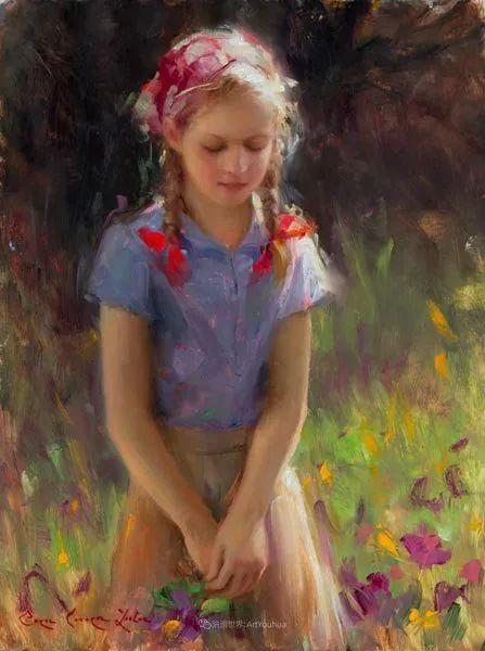他尤其喜欢画人物,美国画家布莱斯作品选(下)插图39
