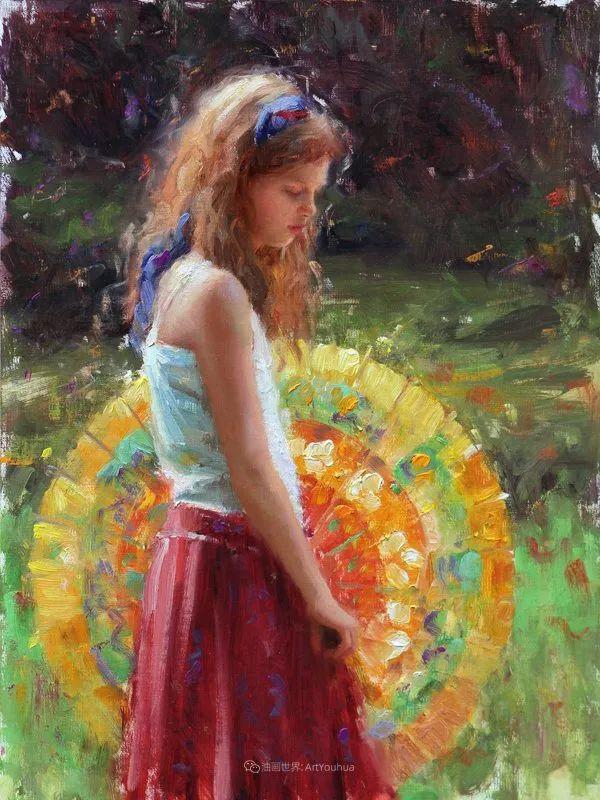 他尤其喜欢画人物,美国画家布莱斯作品选(下)插图45
