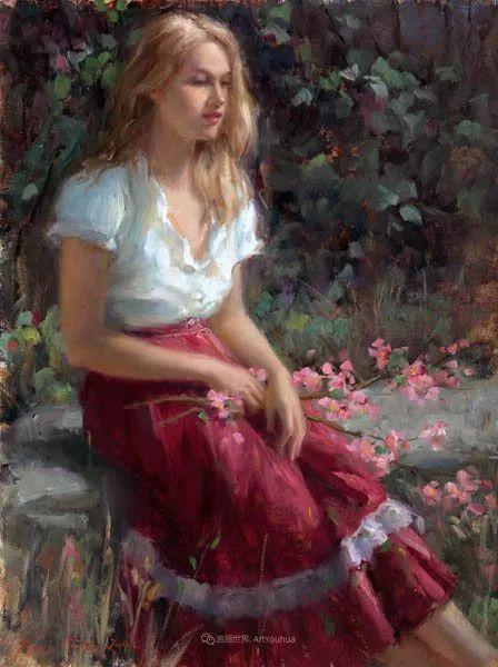 他尤其喜欢画人物,美国画家布莱斯作品选(下)插图61