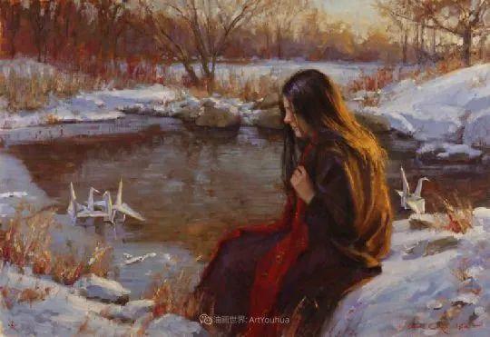 他尤其喜欢画人物,美国画家布莱斯作品选(下)插图63