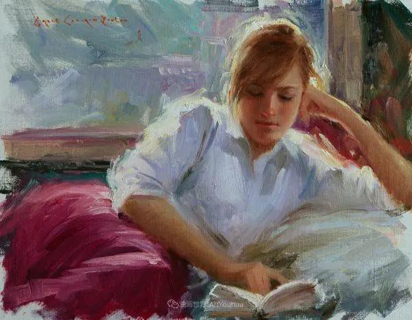 他尤其喜欢画人物,美国画家布莱斯作品选(下)插图77