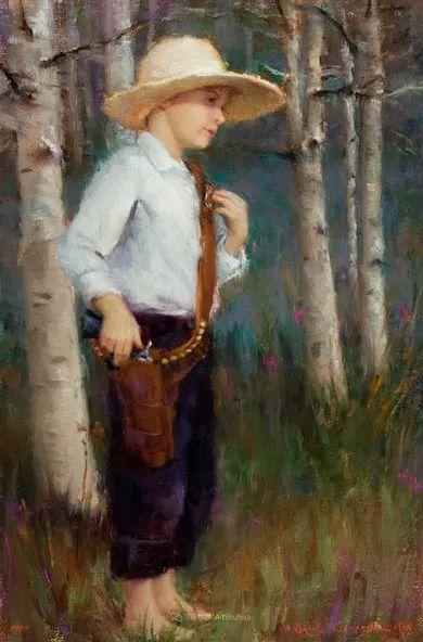 他尤其喜欢画人物,美国画家布莱斯作品选(下)插图91