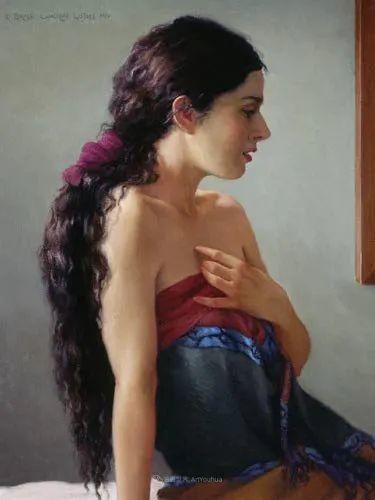 他尤其喜欢画人物,美国画家布莱斯作品选(下)插图97