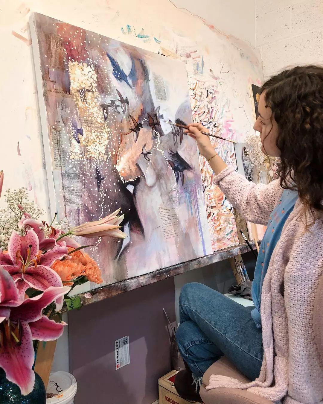 她没上过美院,画作却被世界各地的收藏家争相收藏,16岁卖画赚100万插图20