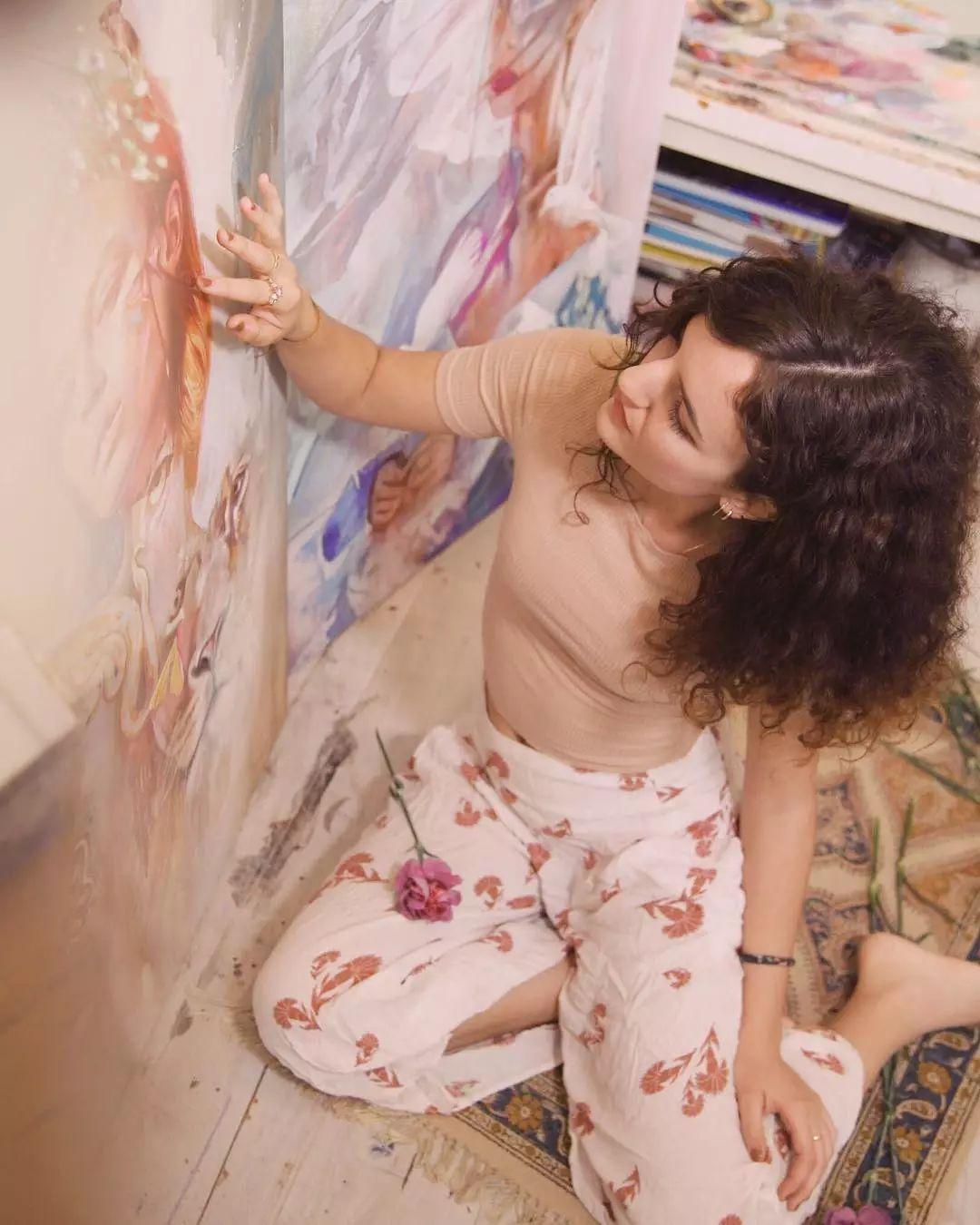 她没上过美院,画作却被世界各地的收藏家争相收藏,16岁卖画赚100万插图44