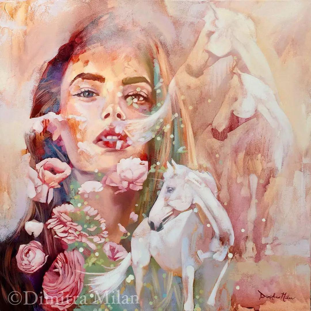 她没上过美院,画作却被世界各地的收藏家争相收藏,16岁卖画赚100万插图53