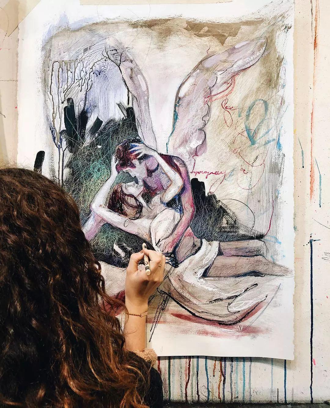 她没上过美院,画作却被世界各地的收藏家争相收藏,16岁卖画赚100万插图55