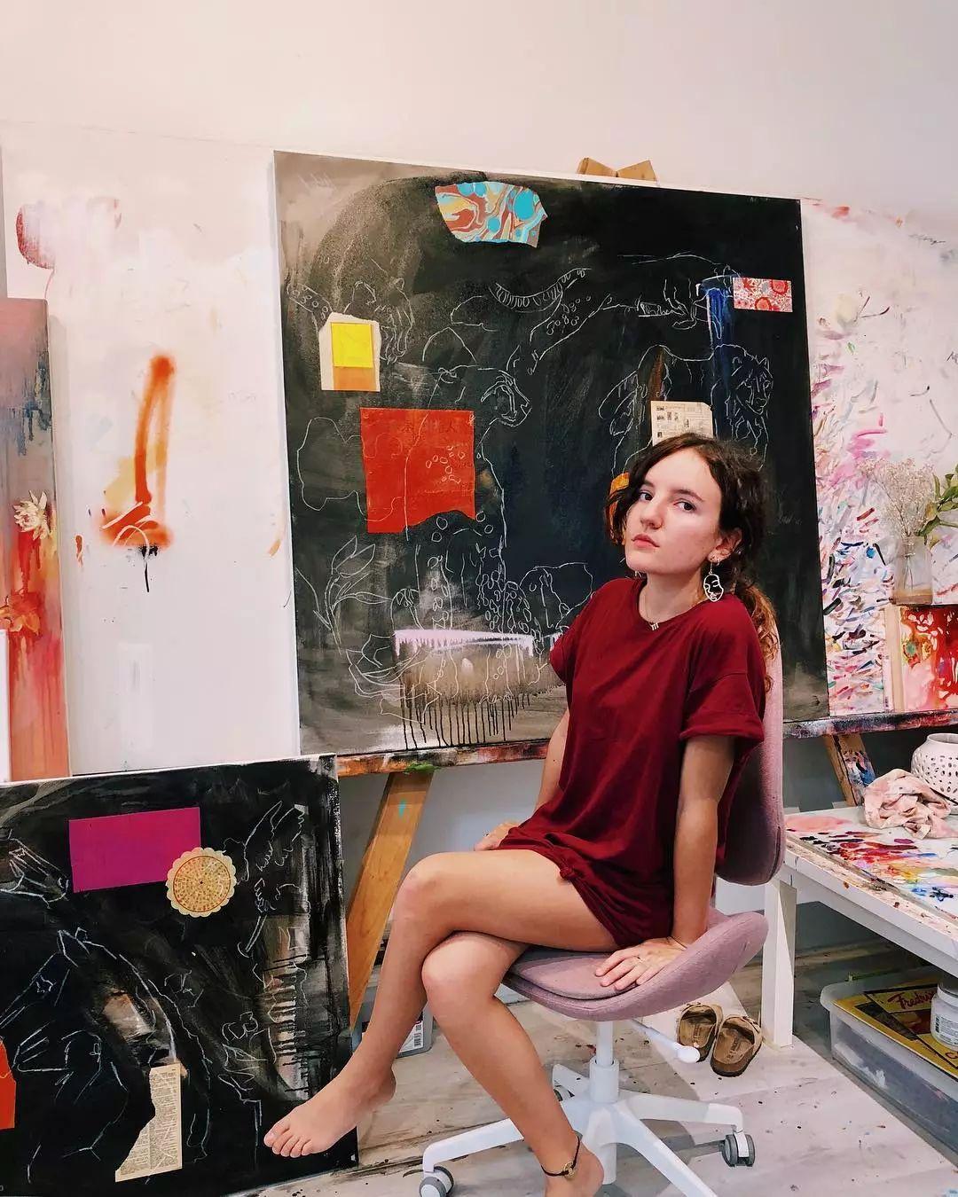 她没上过美院,画作却被世界各地的收藏家争相收藏,16岁卖画赚100万插图68
