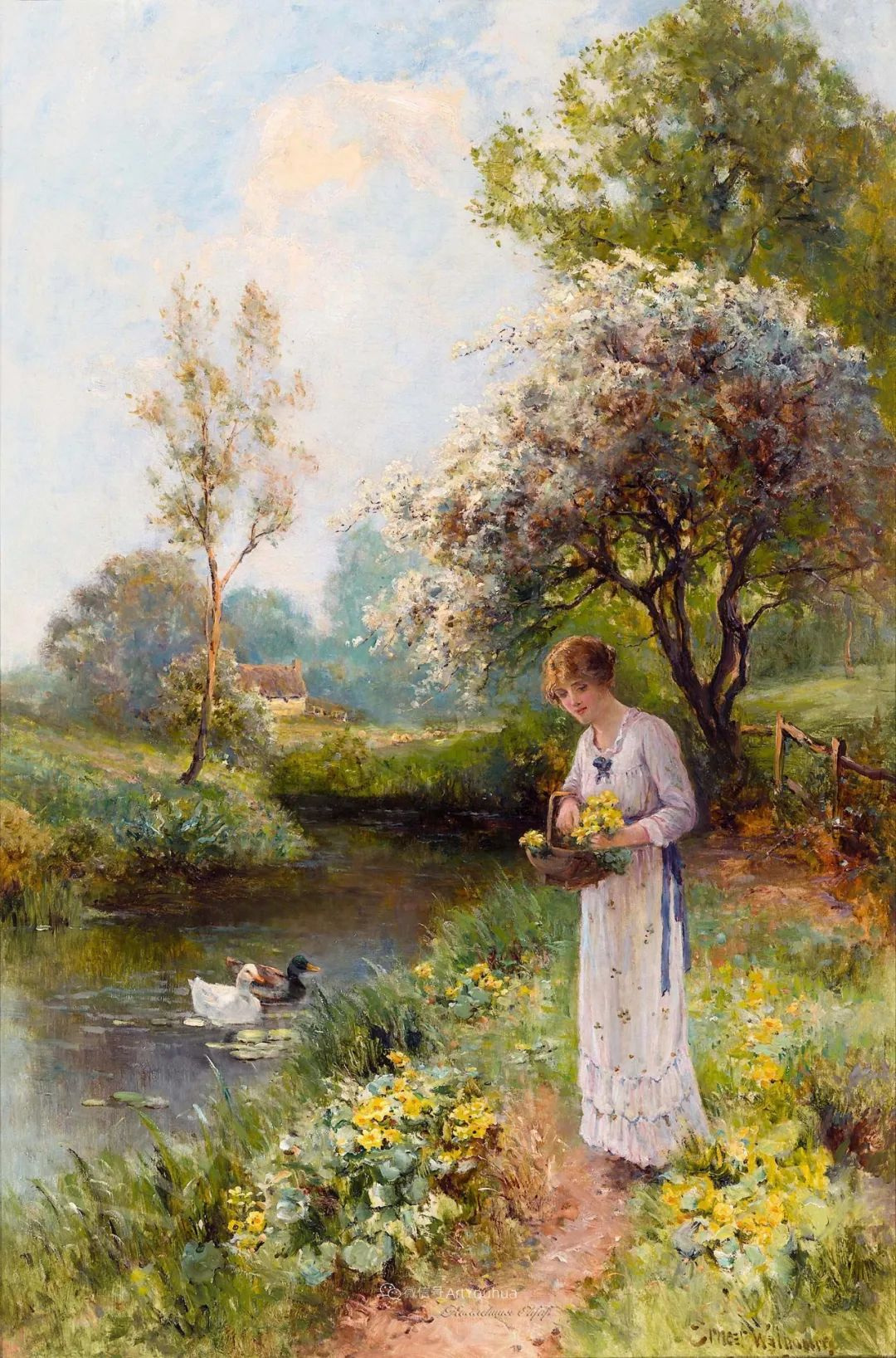 美丽村姑与诗意田园,英国画家Ernest Charles Walbourn作品(下)插图5