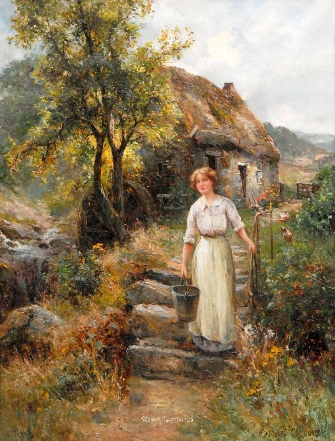美丽村姑与诗意田园,英国画家Ernest Charles Walbourn作品(下)插图9