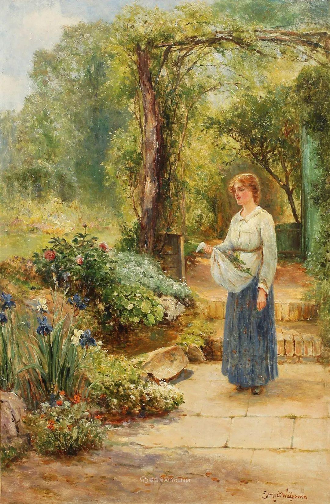 美丽村姑与诗意田园,英国画家Ernest Charles Walbourn作品(下)插图15