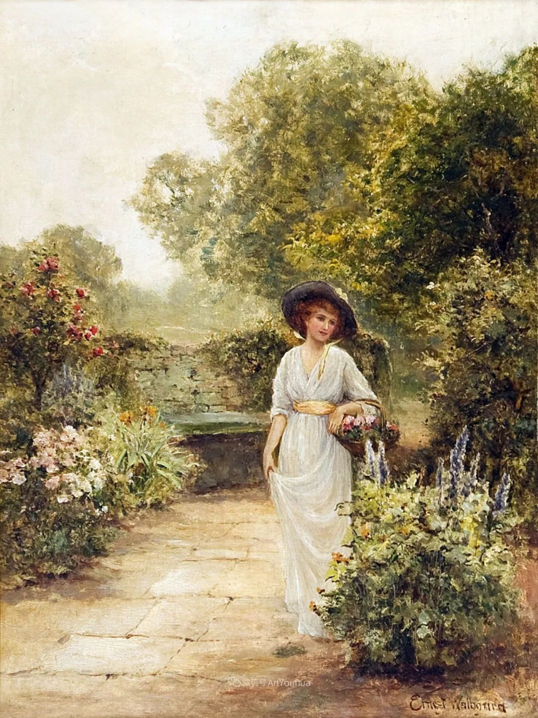 美丽村姑与诗意田园,英国画家Ernest Charles Walbourn作品(下)插图29