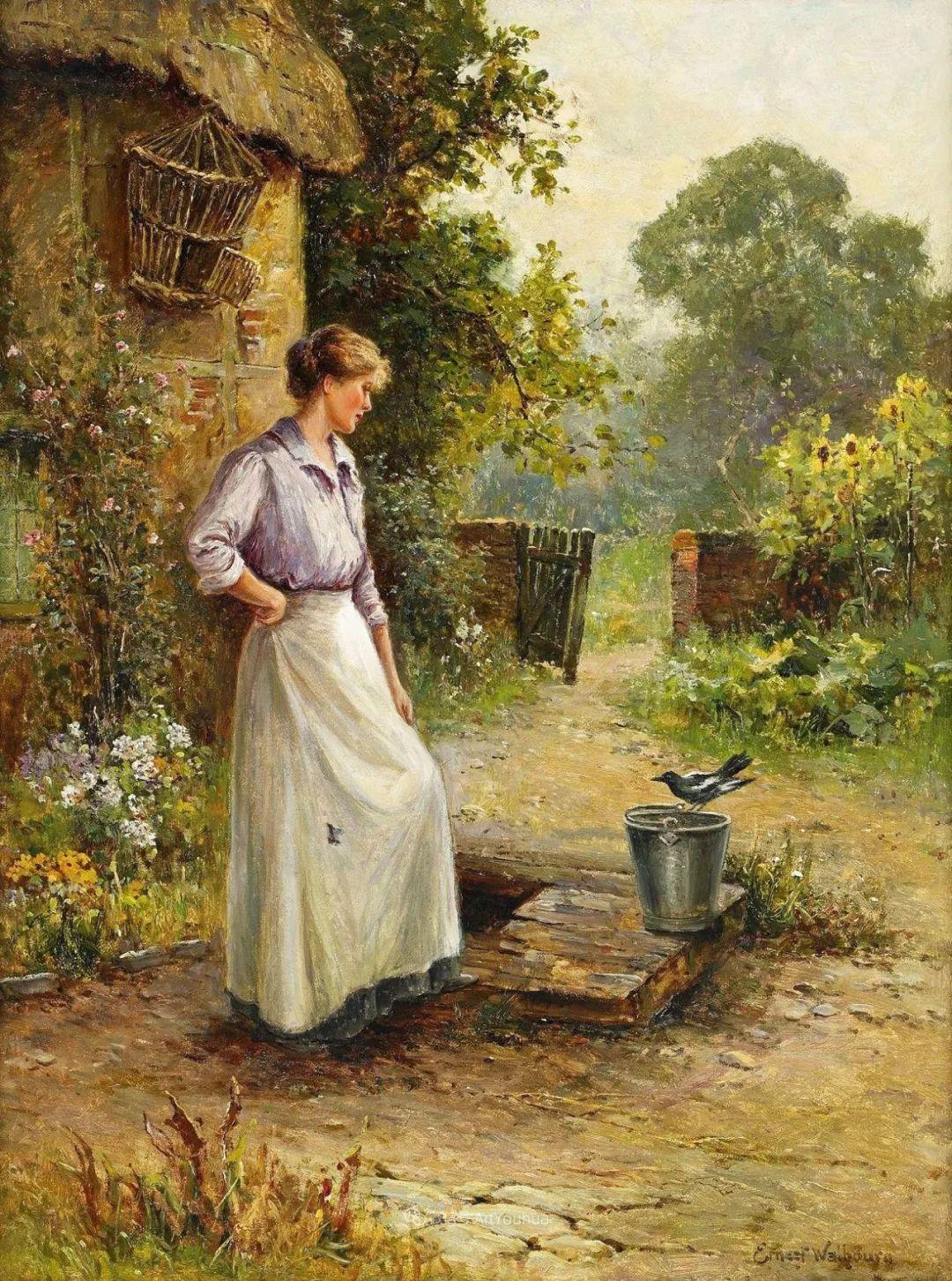 美丽村姑与诗意田园,英国画家Ernest Charles Walbourn作品(下)插图39