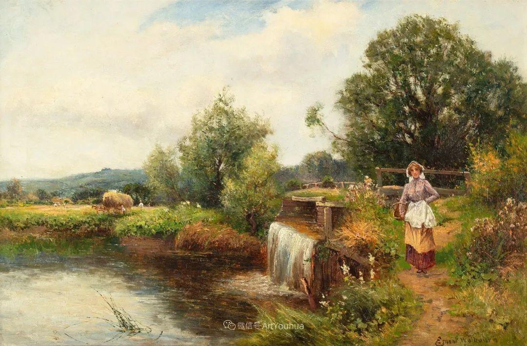 美丽村姑与诗意田园,英国画家Ernest Charles Walbourn作品(下)插图49