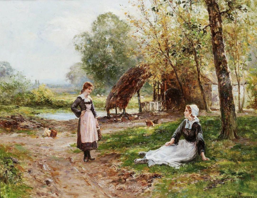 美丽村姑与诗意田园,英国画家Ernest Charles Walbourn作品(下)插图55