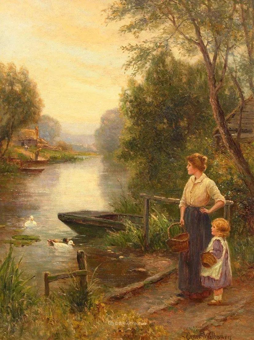 美丽村姑与诗意田园,英国画家Ernest Charles Walbourn作品(下)插图61