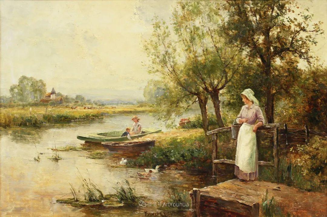 美丽村姑与诗意田园,英国画家Ernest Charles Walbourn作品(下)插图63