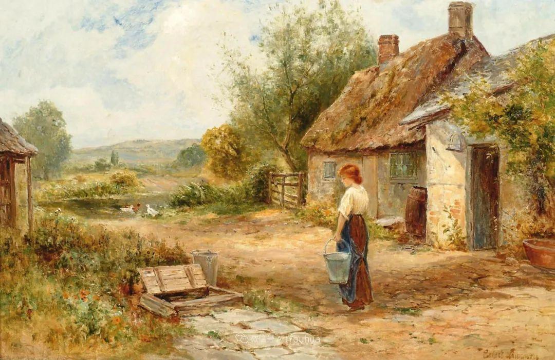美丽村姑与诗意田园,英国画家Ernest Charles Walbourn作品(下)插图69