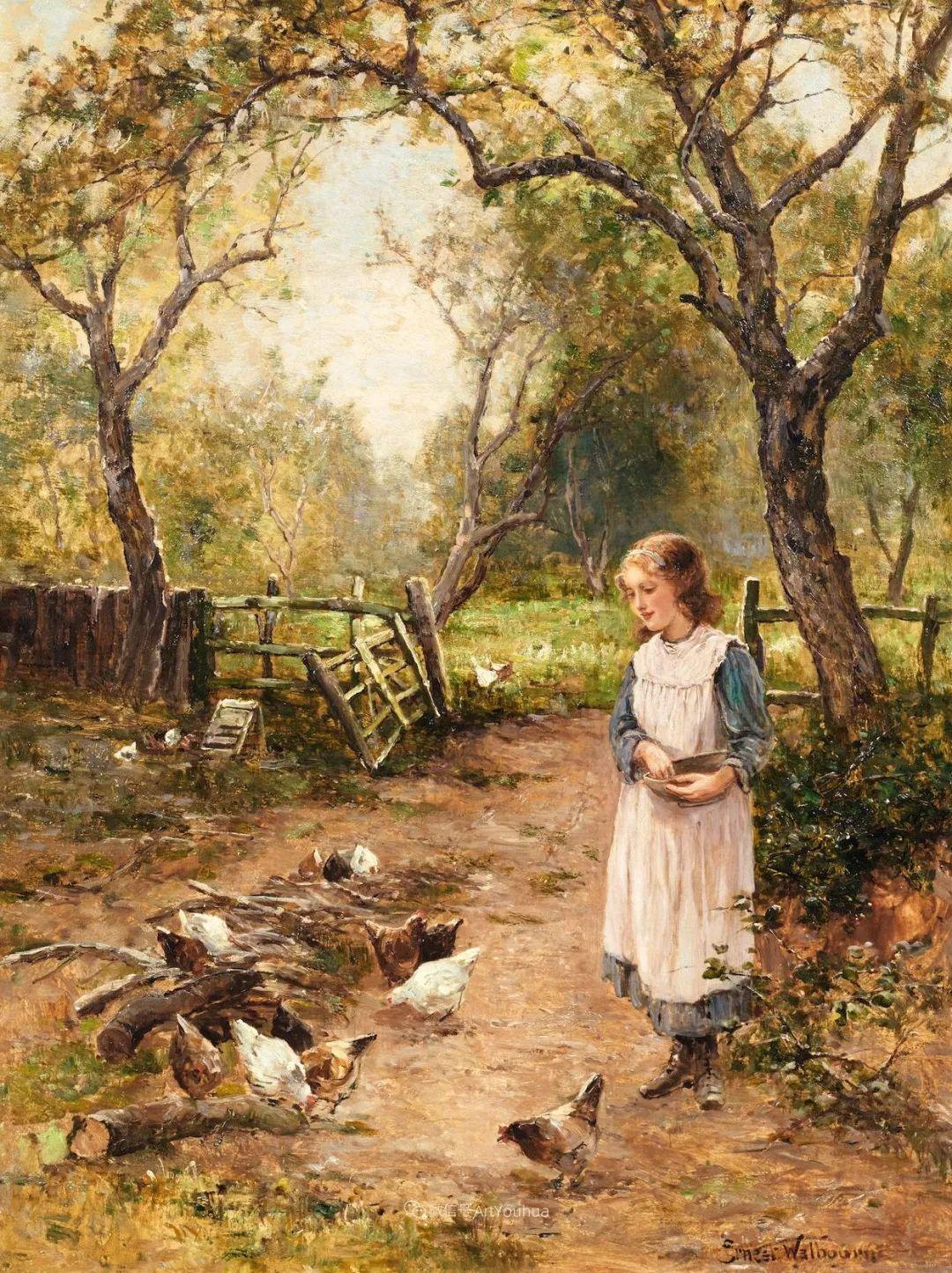 美丽村姑与诗意田园,英国画家Ernest Charles Walbourn作品(下)插图71