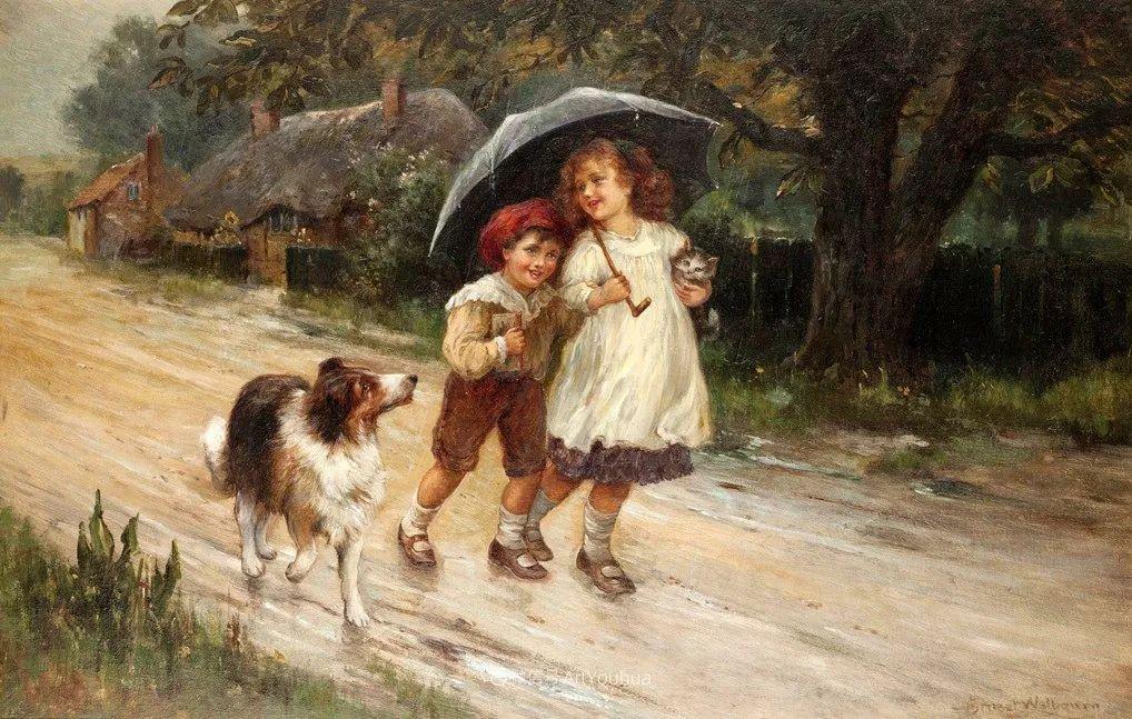 美丽村姑与诗意田园,英国画家Ernest Charles Walbourn作品(下)插图83