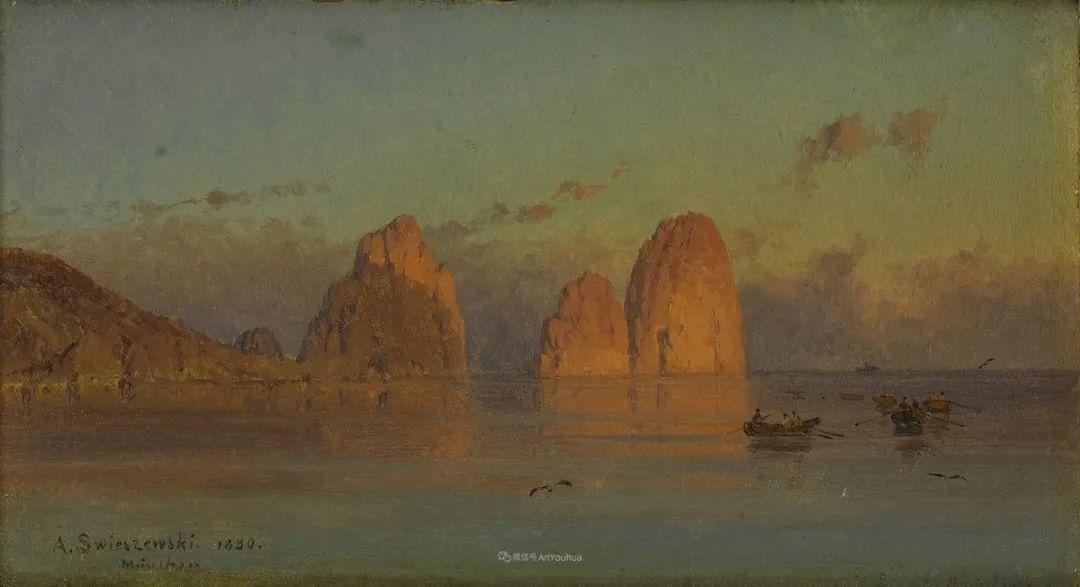 波兰风景画家亚历山大·斯维谢夫斯基(1839-1895)插图14