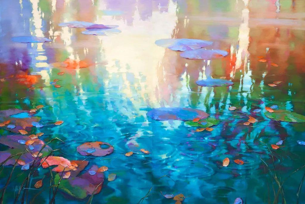 色彩表现浑然天成,她画出了心中的睡莲!德国艺术家唐娜·杨插图11