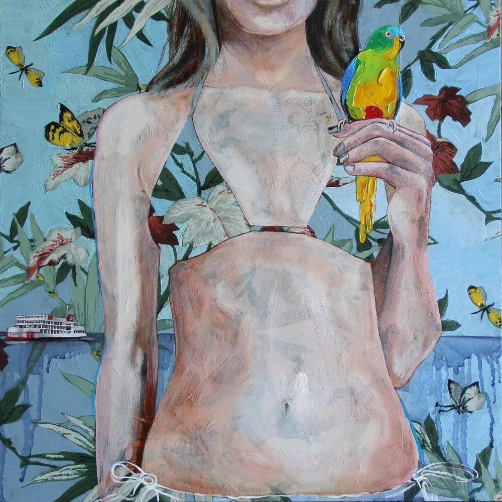 花鸟与女子,澳大利亚艺术家Jessica Watts作品二插图1