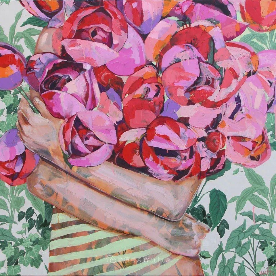 拥抱鲜花的女子,澳大利亚艺术家杰西卡·沃茨插图1