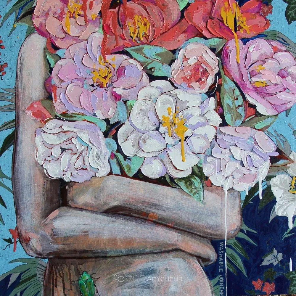 拥抱鲜花的女子,澳大利亚艺术家杰西卡·沃茨插图2