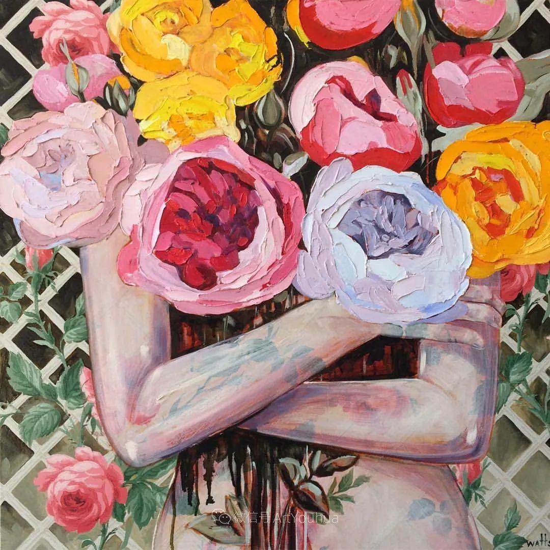 拥抱鲜花的女子,澳大利亚艺术家杰西卡·沃茨插图3