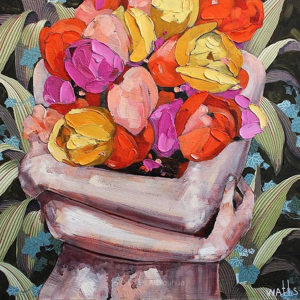 拥抱鲜花的女子,澳大利亚艺术家杰西卡·沃茨插图4