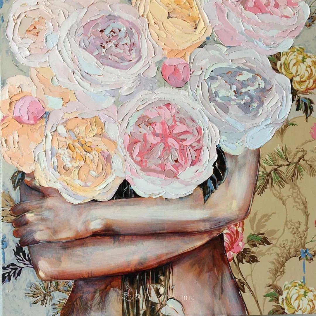 拥抱鲜花的女子,澳大利亚艺术家杰西卡·沃茨插图5