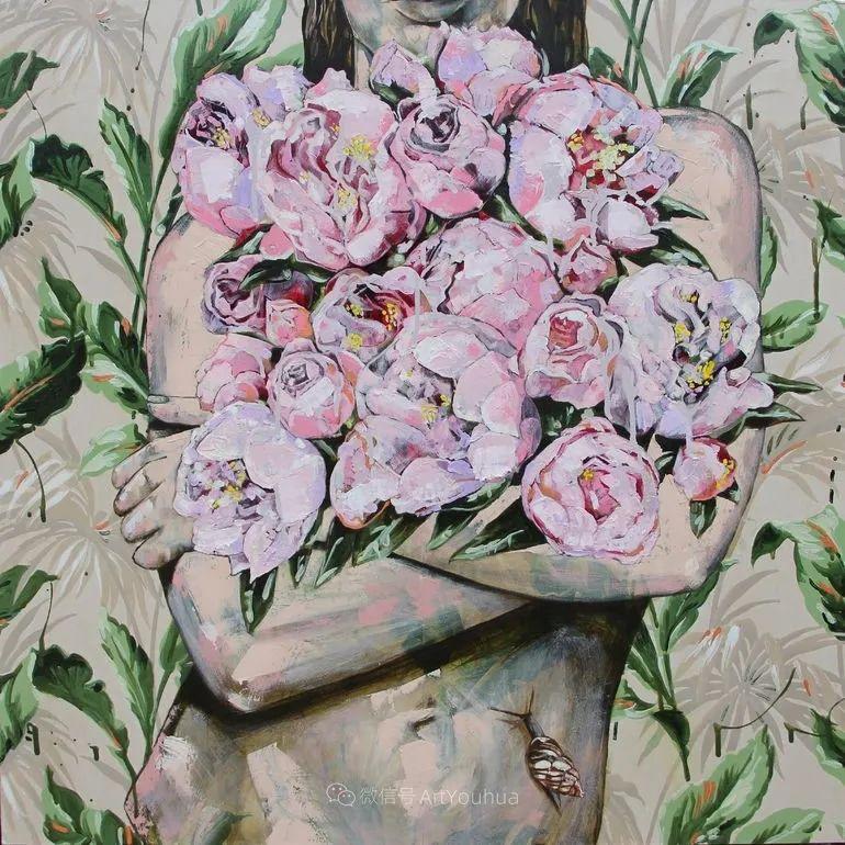 拥抱鲜花的女子,澳大利亚艺术家杰西卡·沃茨插图6