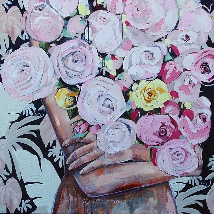 拥抱鲜花的女子,澳大利亚艺术家杰西卡·沃茨插图8