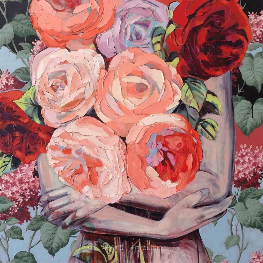 拥抱鲜花的女子,澳大利亚艺术家杰西卡·沃茨插图9