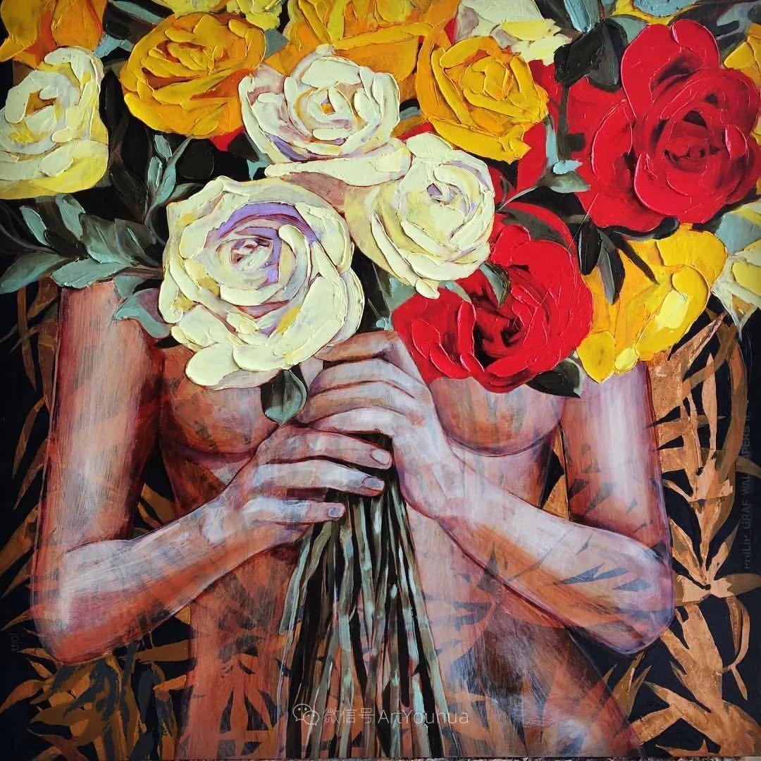 拥抱鲜花的女子,澳大利亚艺术家杰西卡·沃茨插图11