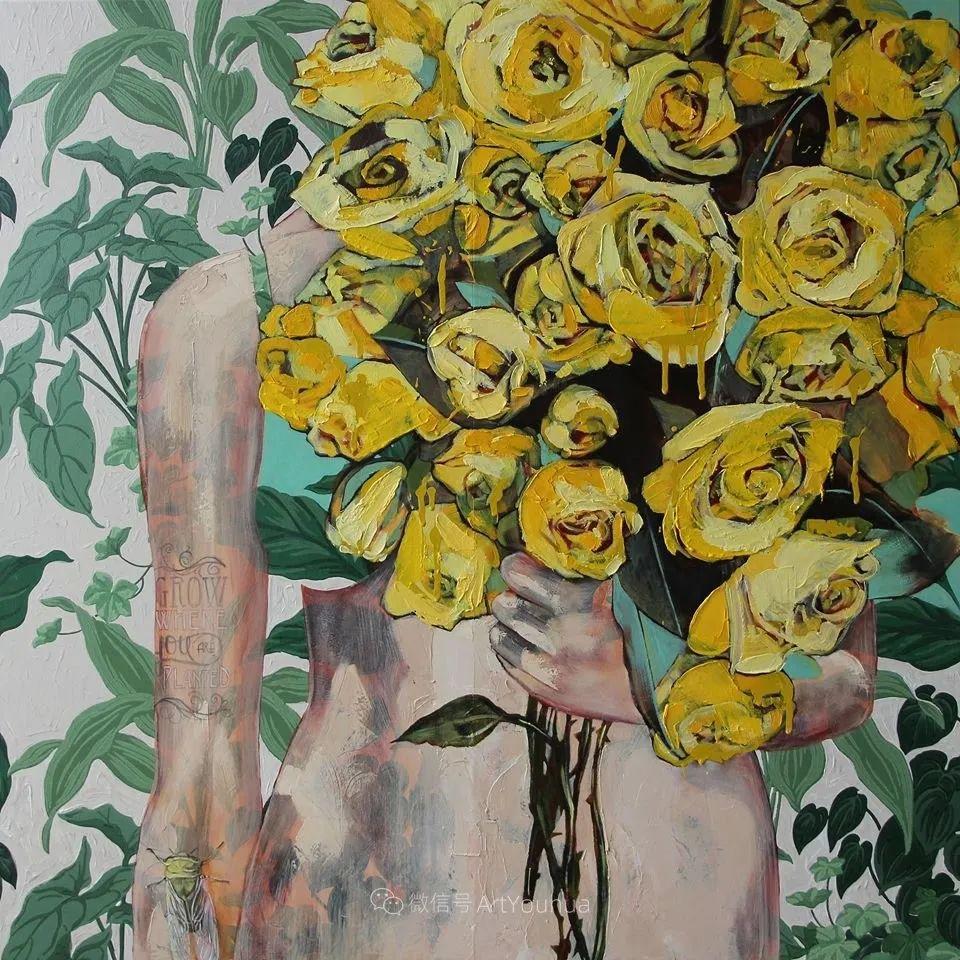 拥抱鲜花的女子,澳大利亚艺术家杰西卡·沃茨插图12