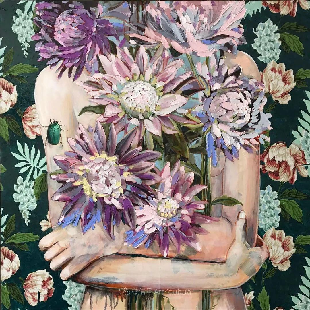 拥抱鲜花的女子,澳大利亚艺术家杰西卡·沃茨插图13