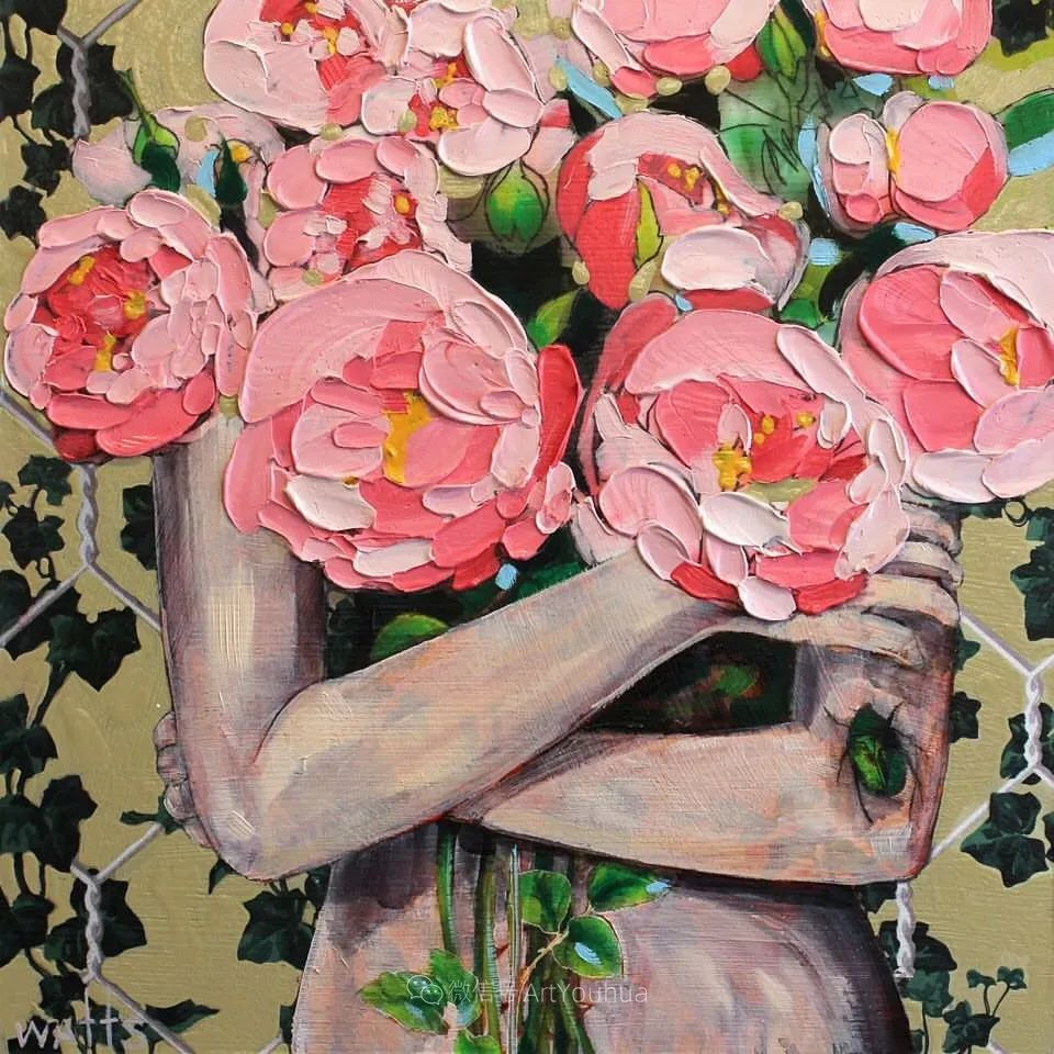 拥抱鲜花的女子,澳大利亚艺术家杰西卡·沃茨插图14