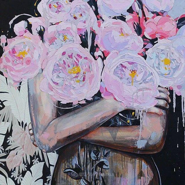 拥抱鲜花的女子,澳大利亚艺术家杰西卡·沃茨插图16