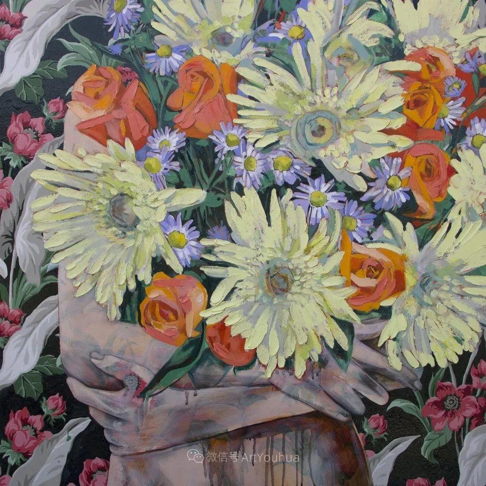 拥抱鲜花的女子,澳大利亚艺术家杰西卡·沃茨插图19
