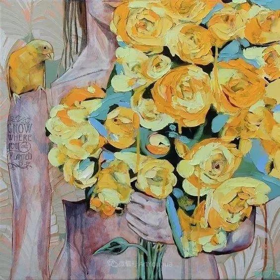 拥抱鲜花的女子,澳大利亚艺术家杰西卡·沃茨插图20