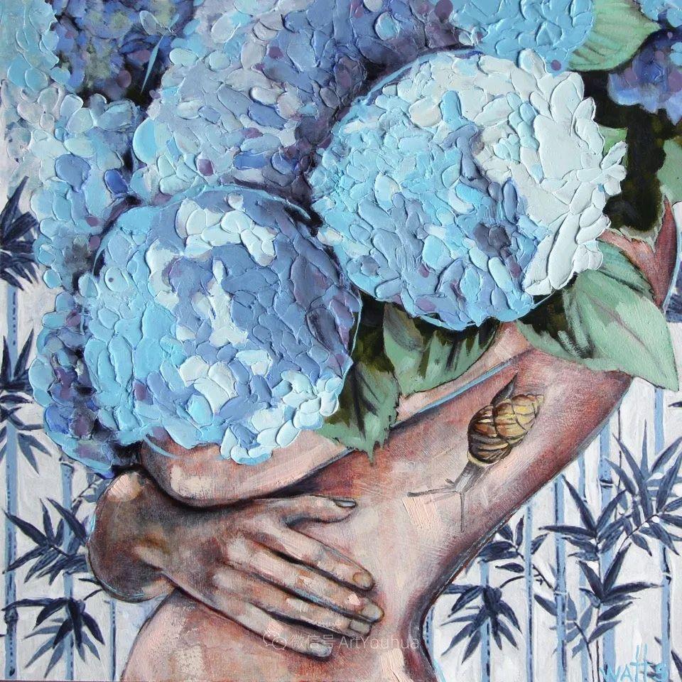 拥抱鲜花的女子,澳大利亚艺术家杰西卡·沃茨插图24