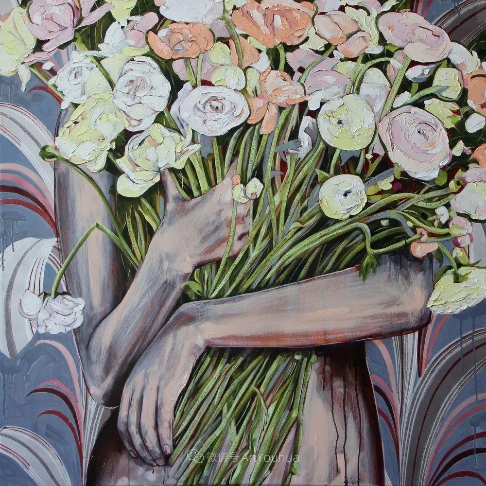 拥抱鲜花的女子,澳大利亚艺术家杰西卡·沃茨插图26